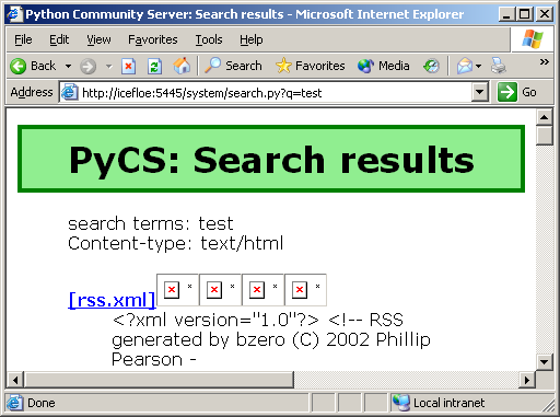 [Picture of a browser window showing the search script running]