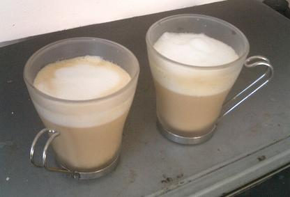 Picture of two cups of home made coffee.